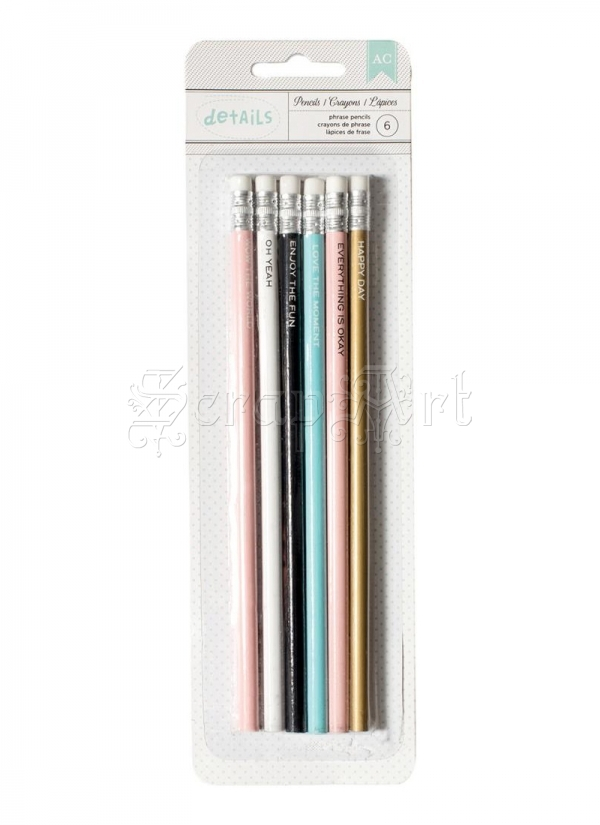 tužky - Phrases Designer Desktop Essentials Pencils 6 Pkg American Craft