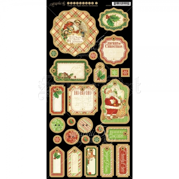 Twas The Night Before Christmas Chipboard Die-Cuts Decorative Tags Sheet 6x12 - Graphic 45