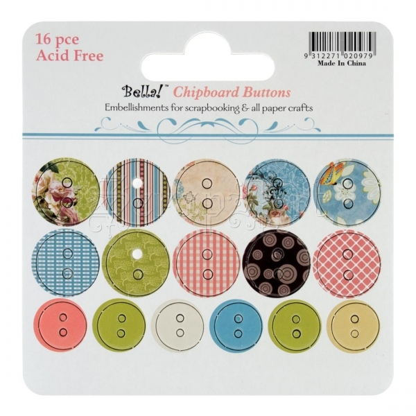 Vintage Chic Chipboard Buttons 16 Pieces