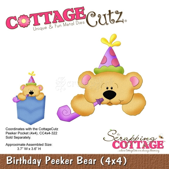 Birthday Peeker Bear (4x4) CC4x4-355 - CottageCutz