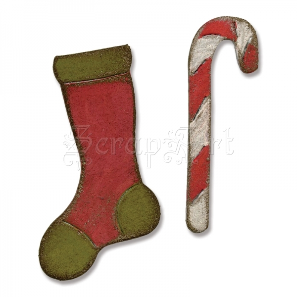 658775 Mini Stocking and Candy Cane - Sizzix
