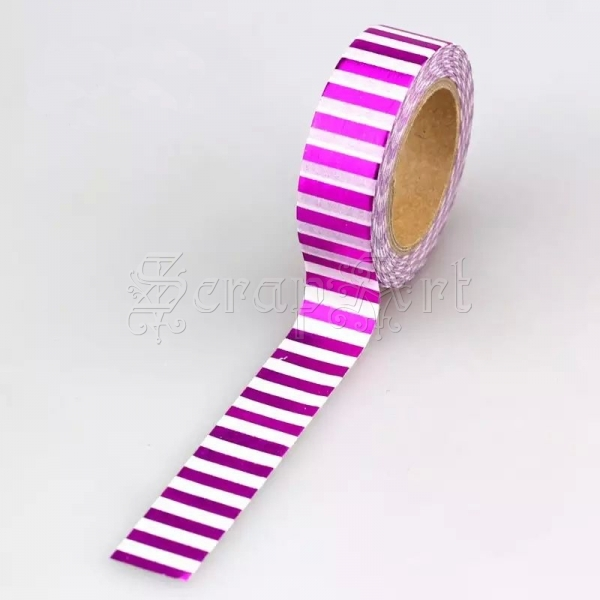 Washi páska - Fuchsia W Stripe Foil Washi Tape