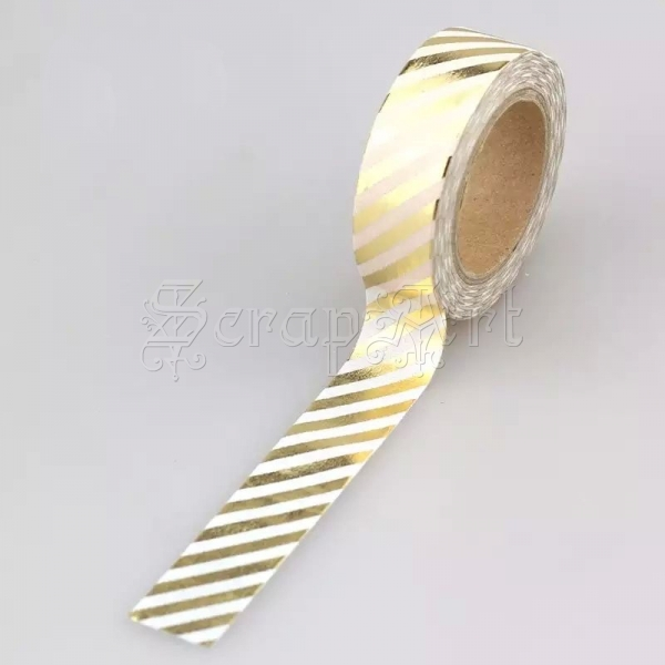 Washi páska - Gold Diagonal Stripes Foil Washi Tape