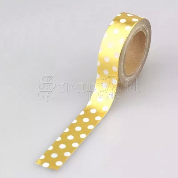 Washi páska - Gold White Dots Foil Washi Tape
