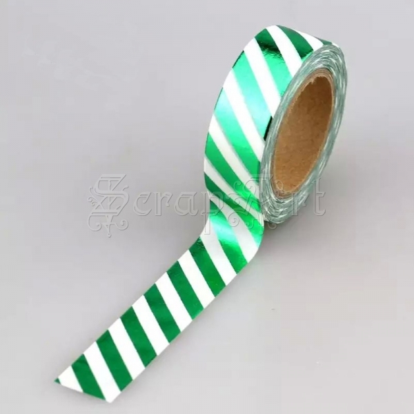 Washi páska - Green W Diagonal Stripes Foil Washi Tape