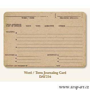 Word - Term  - Journaling Card